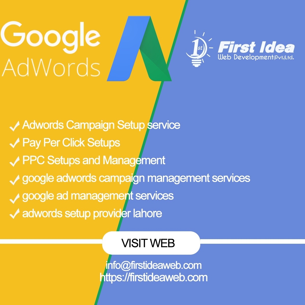 Adwords Campaign Setup service, Pay Per Click Setups, PPC Setups and Management, google adwords campaign management services, google ad management services, adwords setup provider lahore,