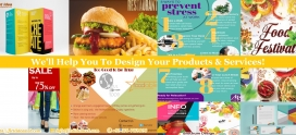 Catalog/menu/broucher/infographics/banners/logo/office stationary design service available at low price & high quality!