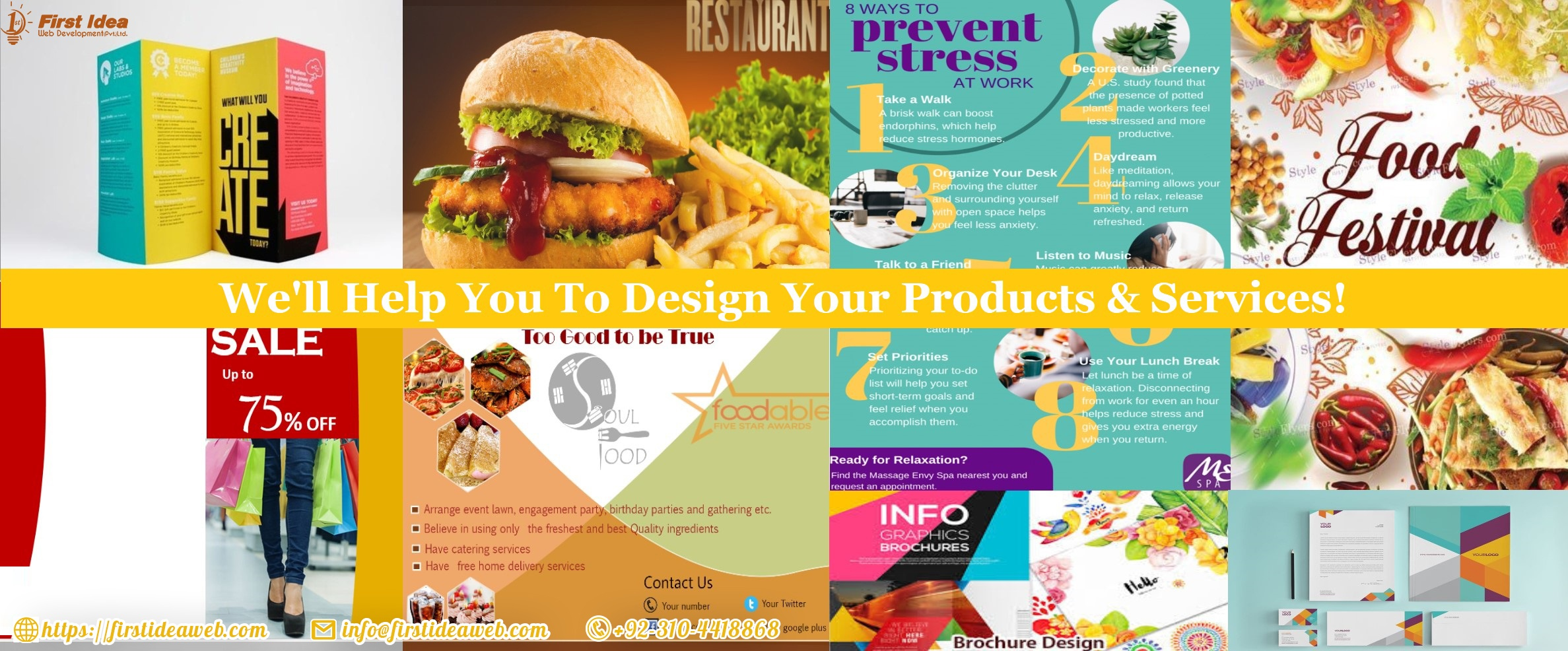 Catalog/ menu / Broucher/ infographics / banners / logo / office stationary design service available at low price & high quality!
